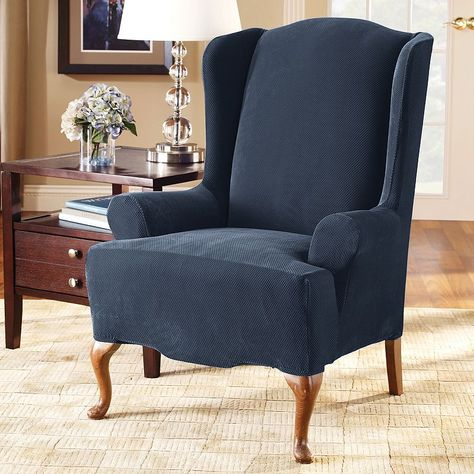 Sure Fit Stretch Pique Wing Chair Slipcover Slipcovers For Chairs Wing Chair Best Leather Sofa