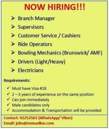 Jobs In Kuwait Iiq8 Manager Supervisor Cashier Drivers Job