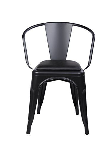 Gia Metal Dining Chairs With Back Leather Cushion Seat Tolix