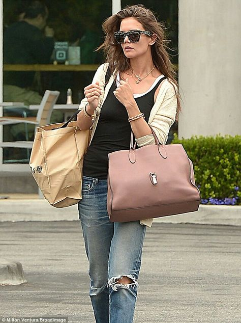 Distressed jeans: The Dawson's Creek star wore distressed jeans to the supermarket