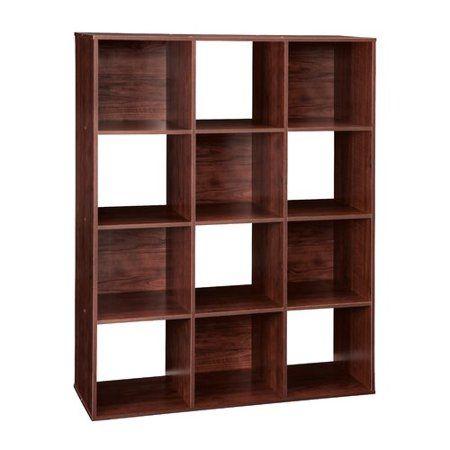 Espresso 12 Cube Bookcase Storage Organizer Wooden Office Shelving Bookshelf