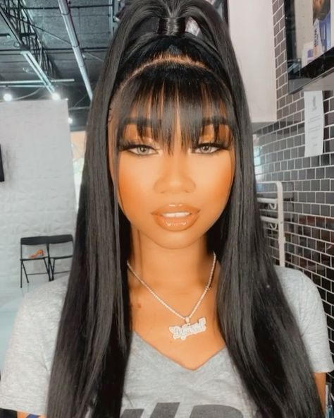 Colored Weave Hairstyles, Long Weave Hairstyles, Baddie Hairstyles, Hairstyles With Bangs, Easy Hairstyles, Straight Hairstyles, African American Girl Hairstyles, Black Girls Hairstyles, Hair Inspo