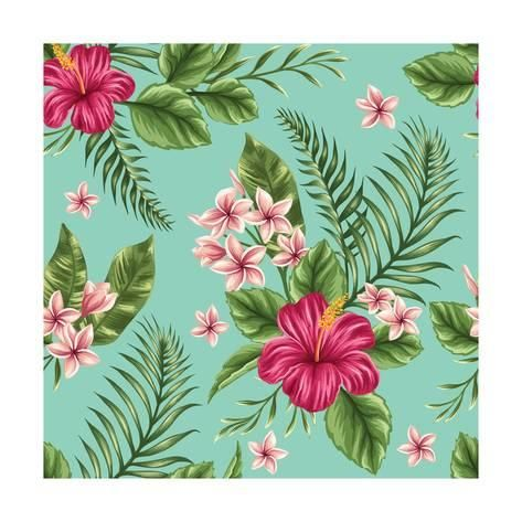 Art Print: Tropical Floral Seamless Pattern with Plumeria and Hibiscus Flowers by hoverfly : 12x12in