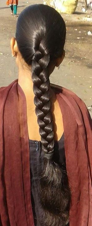 Beautiful Long Braids In 2020 Long Indian Hair Braided Hairstyles Long Braids