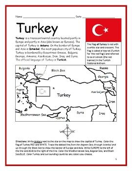 Turkey Printable Handout With Map And Flag Turkey Coloring