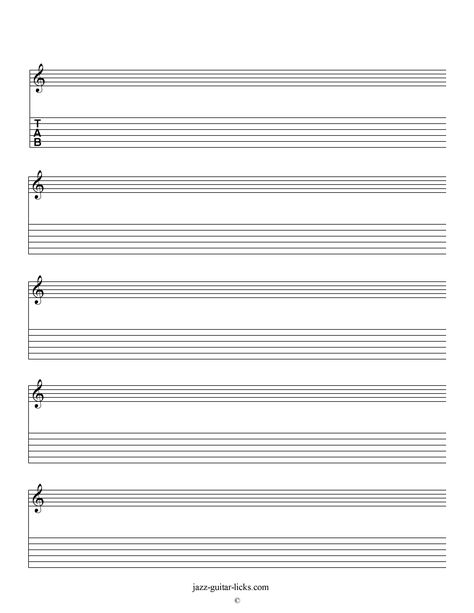 Printable blank staves and tabs - Free music sheet music