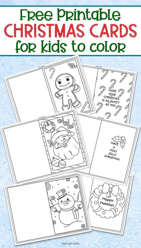 3 Free Printable Christmas Cards For Kids To Color Christmas