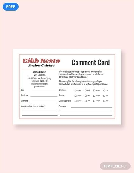 Free Sample Comment Card Template Word Doc Psd Indesign Apple Mac Pages Publisher Illustrator Card Template Card Templates Free Templates
