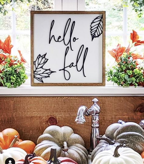 Farmhouse raised wood sign Hello Fall from Northstarrsignco. Photo by: simpledecorwithamy Fall Decor Signs, Fall Wood Signs, Fall Signs, Fall Home Decor, Halloween Wood Signs, Fall Crafts, Holiday Crafts, Fall Craft Fairs, Fall Wood Projects
