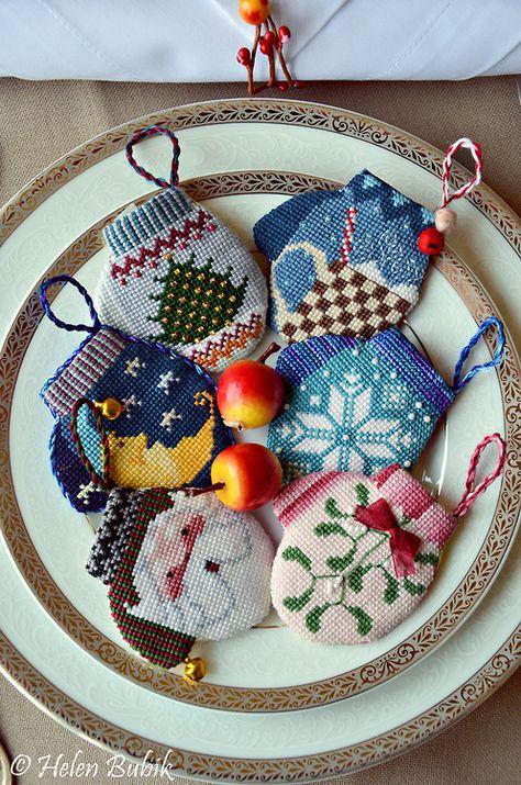 needlepoint mitten ornaments