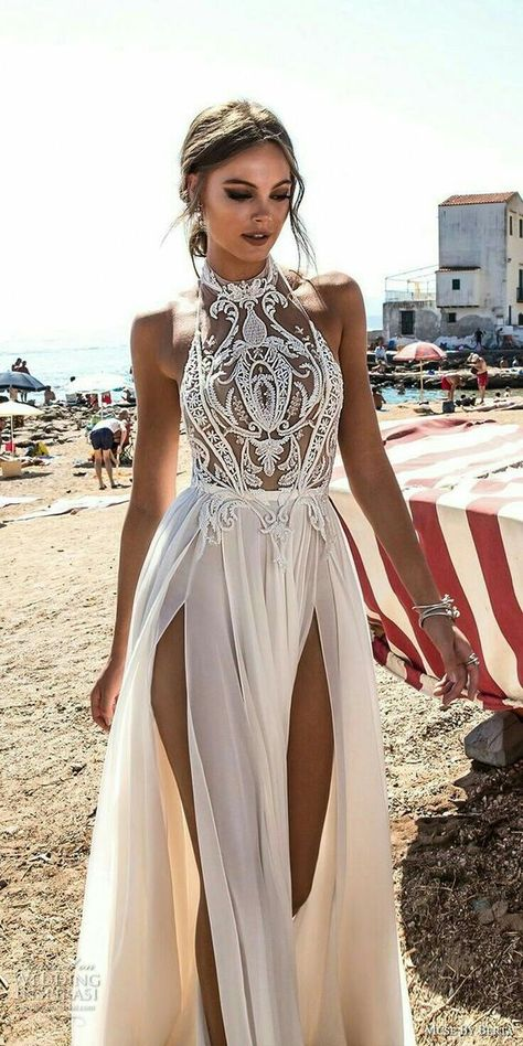 New halter white prom dress,high slit wedding dress,sexy evening dress with lace ,charming wedding dress,680 on Storenvy
