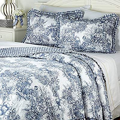 Clever Carriage Blue French Toile Country King Quilt Shams Set Country Bedroom Blue French Country Bedrooms Country Bedroom