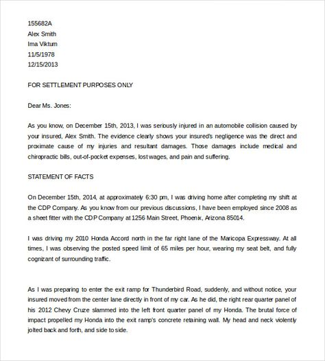 Pain And Suffering Demand Letter from i.pinimg.com