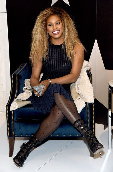Laverne Cox visits Macy's Herald Square in NYC.