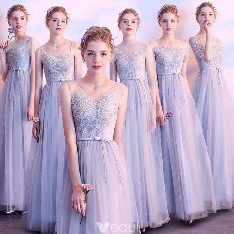 945a9daf8 Affordable Grey See-through Bridesmaid Dresses 2018 A-Line / Princess  Appliques Lace Sash Ankle Length Ruffle Backless Wedding Party Dresses