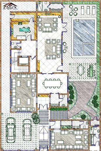 تصميم فيلا على الطراز السعودي في الليث Twitter Egyrevit House Floor Design Pool House Plans Architectural House Plans