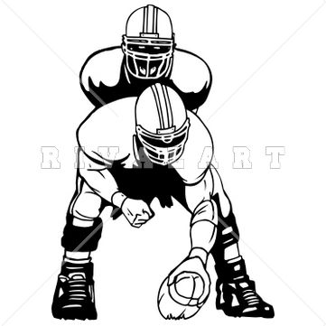 Sports Clipart Image Of Black White Football Players Snap