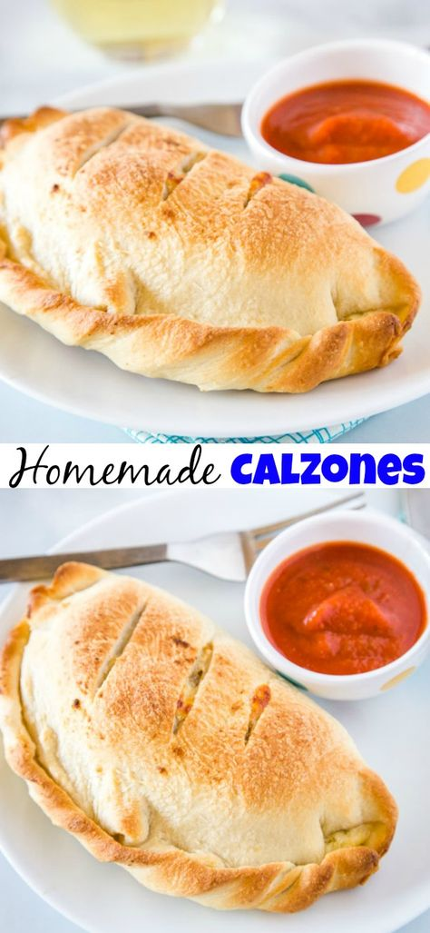 Homemade Calzones - Sausage and pepperoni mixed in a creamy cheese mixture and b. - Homemade Calzones – Sausage and pepperoni mixed in a creamy cheese mixture and baked in a delicio - Homemade Calzone, Homemade Sandwich, Homemade Cheese, Homemade Food, Creamy Cheese, Comfort Food, Snacks, Tostadas, Italian Recipes