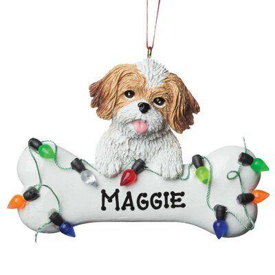 Shih tzu dog personalized christmas tree ornament