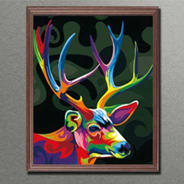 Malen Nach Zahlen Hirschkopf In Regenbogenfarben Leinwandmalerei