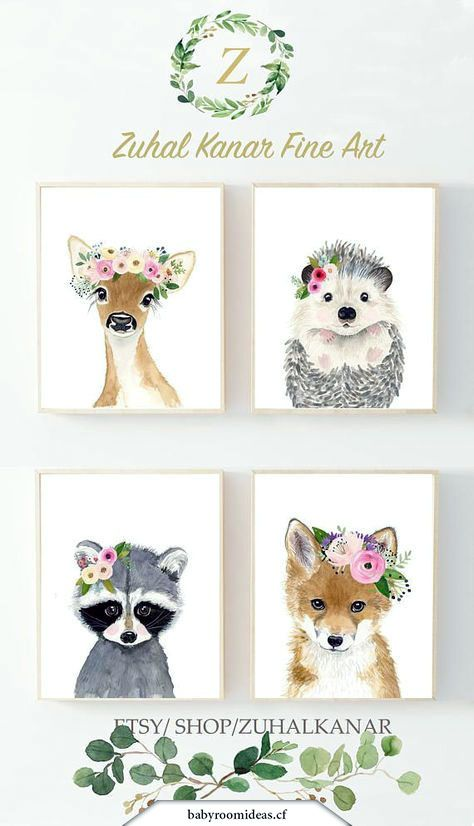 Set Lot 4 Boho Bohemian Watercolor Woodland Animals Nursery Art