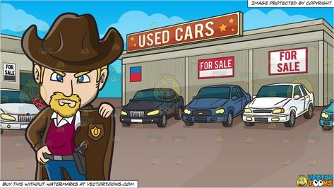 An American Old West Sheriff and Used Car Lot Background