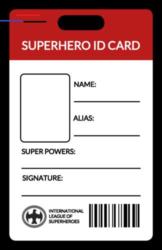 Superhero Id Card Label Superherocrafts Superhero Crafts Id Card Template Cards