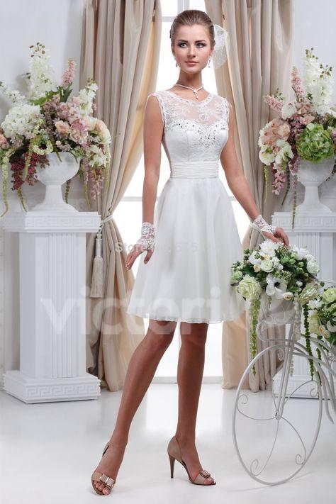 Barato Simples Branco Curto Vestido De Noiva Vestido De