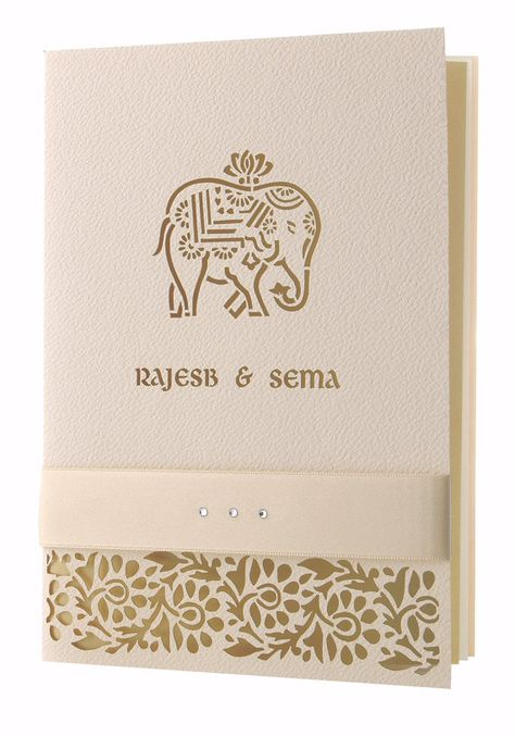 Cream Elephant Laser Cut  Luxury Indian Hindu Asian Wedding Invitation Personalised, Luxury Bow With Complimentary Envelopes and Printing