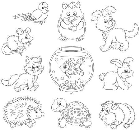 Set Of Pets Icon Animal Clipart Dog Clip Art Animals Black And White