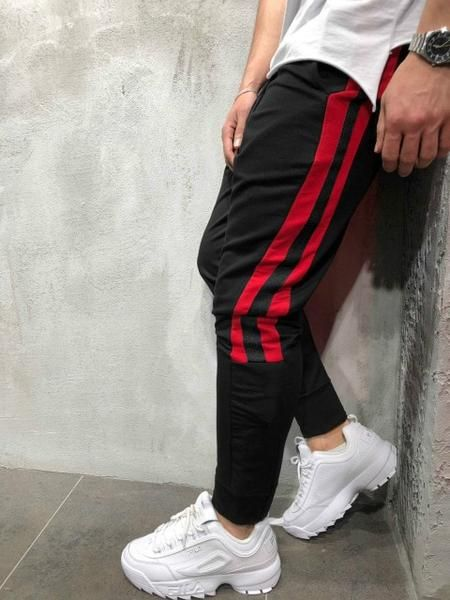 Men Track Pants New Fashion Hip Hop Fitness Streetwear Trousers Striped Drawstring Joggers Sweatpants Pantalon Homme In 2020 With Images Mens Streetwear Mens Workout Clothes Mens Outfits