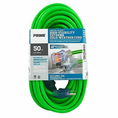 Prime Wire Cable 12 3 Neon Power Cord 50ftl Green Ns512830 In 2020 Outdoor Extension Cord Power Cord Cord