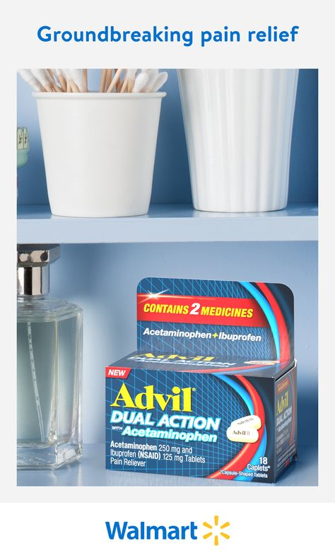 Advil Dual Action is the first and only FDA approved pain relief medication that combines the top two selling pain fighting ingredients for powerful results. The first major innovation in pain relief in over two decades, find this groundbreaking new product in Walmart stores and online.