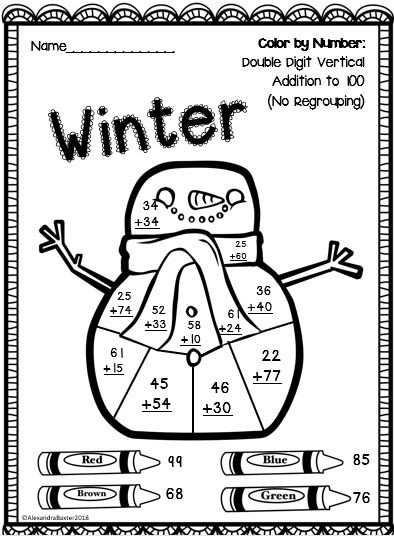 Winter Color By Number Great Seasonal Addition Practise For Maths Addition Coloring Worksheet Color Worksheets Winter Math