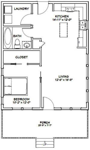 24x30 House 1 Bedroom 1 Bath Pdf Floor Plan 720 Sq Ft Model 2d Small House Floor Plans Tiny House Floor Plans 1 Bedroom House Plans