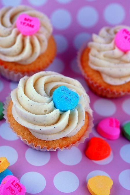 Creamsicle Conversation Heart Cupcakes