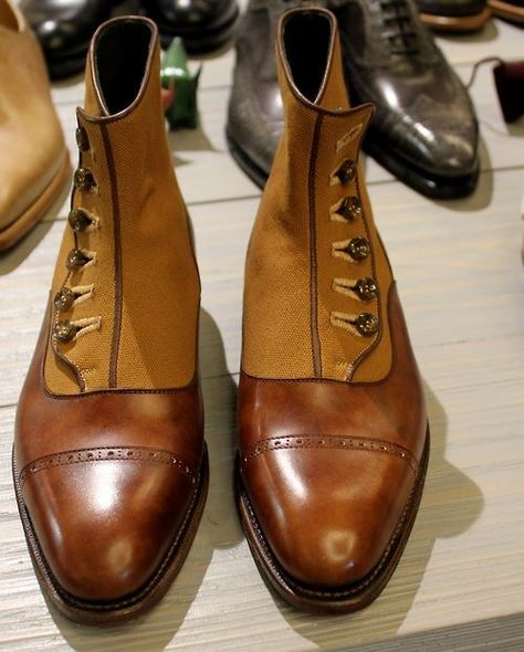 Phineas Cole @ Paul Stuart - Tweed / leather boots ..... Very Stylish |  chaussures hommes | Pinterest | Square toe boots, Squares and Leather