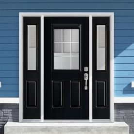 Masonite 60 In X 80 In Fiberglass Half Lite Left Hand Inswing Peppercorn Painted Prehung Single Front Door With Sidelights Brickmould Included With Blinds Lowes Entry Door With Sidelights Door And Window Design Front Dog doors at lowes | petsafe aluminum x entry door with sidelights