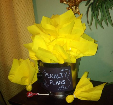 Tootsie Pops Wrapped In Yellow Napkins Made Great Penalty Flag Party Favors Kids Football Parties Used Cloth Diapers Party Favors
