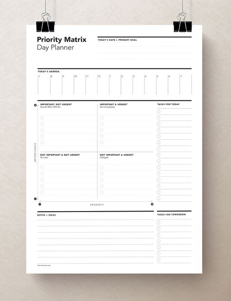 This Task Priority Matrix / Eisenhower Matrix is perfect to get you organized. The daily Eisenhower Matrix, which is also known as the Urgent-Important Matrix, helps you prioritize your tasks based upon their urgency and importance. It also allows you to identify tasks that you should either delegate or leave undone.  This type of chart is ★ PERFECT ★ for organizing activities/tasks. This planner sheet includes a DAILY AGENDA on the top, and plenty of space for NOTES + IDEAS on the bottom