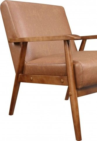 Lummus Cognac Wood Frame Upholstered Accent Chair Upholstered Accent Chairs Leather Accent Chair Accent Club Chairs