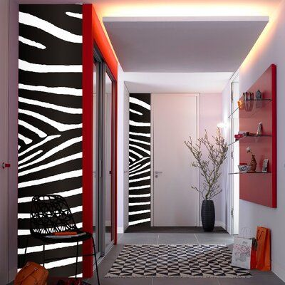 World Menagerie Ciaron Stripe Zebra 4 46 X 18 5 Wall Mural Contemporary Home Decor Zebra Wall Decor Interior Design