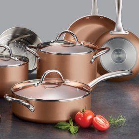 Tramontina 11 Piece Nonstick Cookware Set Assorted Colors Sam S Club In 2020 Cookware Set Nonstick Cookware Cookware And Bakeware