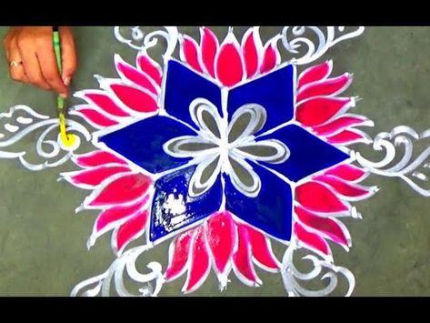 Unique Dotted Lotus Rangoli design.Lotus Kolam design with