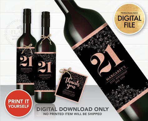 Wine Bottle Label Black Rose Gold (DIGITAL FILE ONLY) #BlackRoseGold #21stbirthday #winelabel #champagnelabel #miniwinelabel #minibottlelabel #bottlelabel #partyfavortlabel #blackrosegoldparty #bottlepartyfavor #winepartyfavor #drinklabel #birthdaypartyideas #PersonalisedBottleFavorLabel #PartyFavorLabel #ThankYouTag #FlowerWineLabel #rosegold #21stbirthdayparty #18thbirthdayparty #20thbirthday #30thbirthday #birthdaypartyideas #flairenchanted #weddingpartyfavor #birthdaypartyideas
