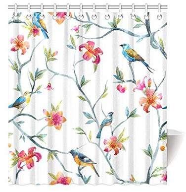 Home Shower Curtain Hooks Watercolor Bird Shower Curtain