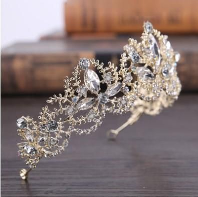 841492c972857d 2018 Extravagant Bridal Tiara Baroque Style Light Gold Tone Handmade  Rhinestone Crystal Bridal Hair Accessories Wedding