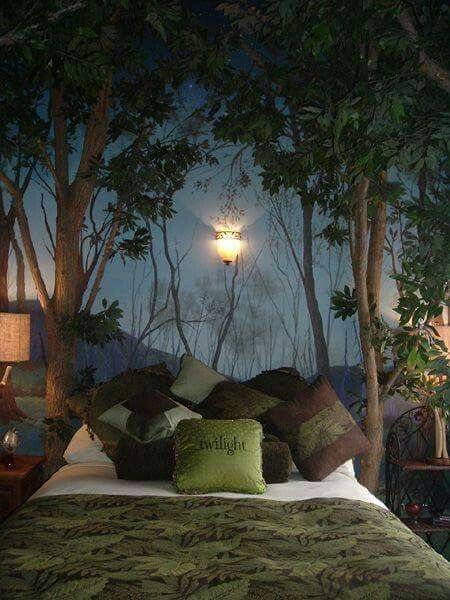 Dark Botanical Wallpaper In This Forest Themed Bedroom Guest Room Decor Forest Bedroom Tree Wall Murals