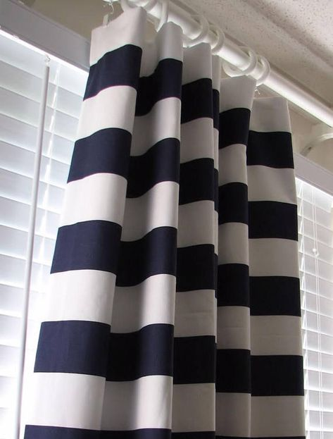 Navy Blue And White Horizontal Striped Curtains Window