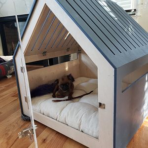 Modern Dog And Cat House With Acrylic Door Petso Dog Bed Cat Etsy In 2021 Indoor Dog House Modern Dog Dog Bed